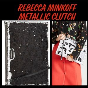 Handbags - Rebecca Minkoff Sequin Clutch Silver to Black 🖤